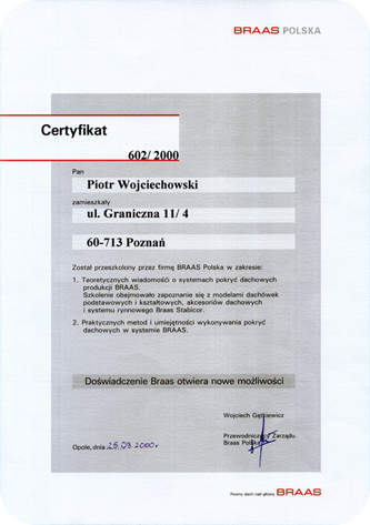 Certyfikat Braas 2000
